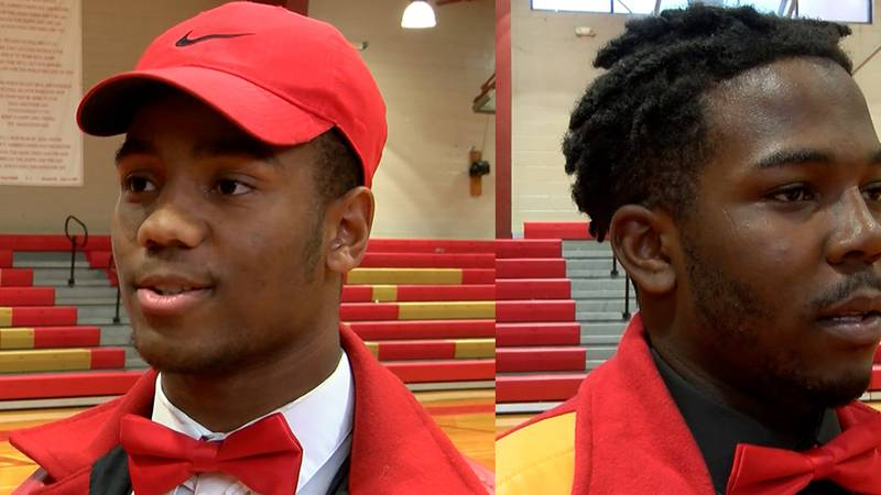 East Iberville athlete Jaden Williams and offensive lineman/defensive lineman J'Quinn Williams