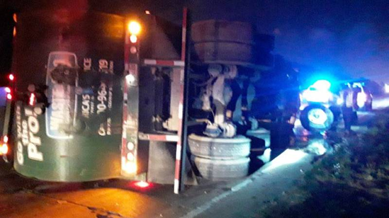 I-10 W at Bluff Road was closed Monday morning following an overturned garbage truck.
