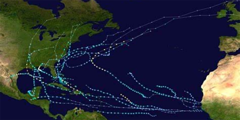 These are the paths of the hurricanes in 2020.
