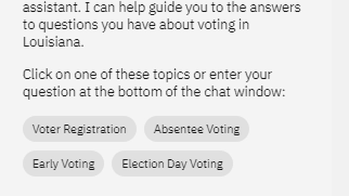 GeauxBot is a new feature on  the Secretary of State's Office website to help voters find...