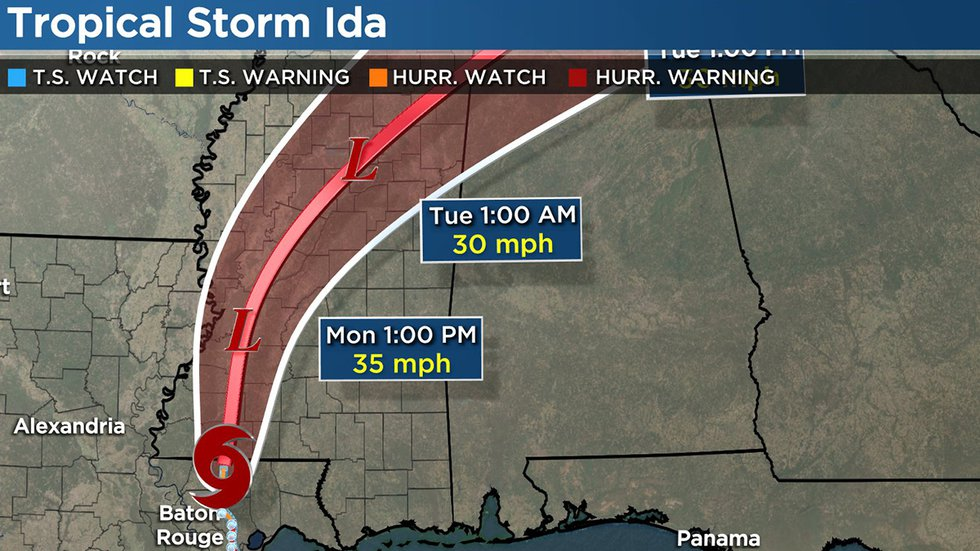 Tropical Storm Ida Forecast Track: August 30 - 4 a.m.