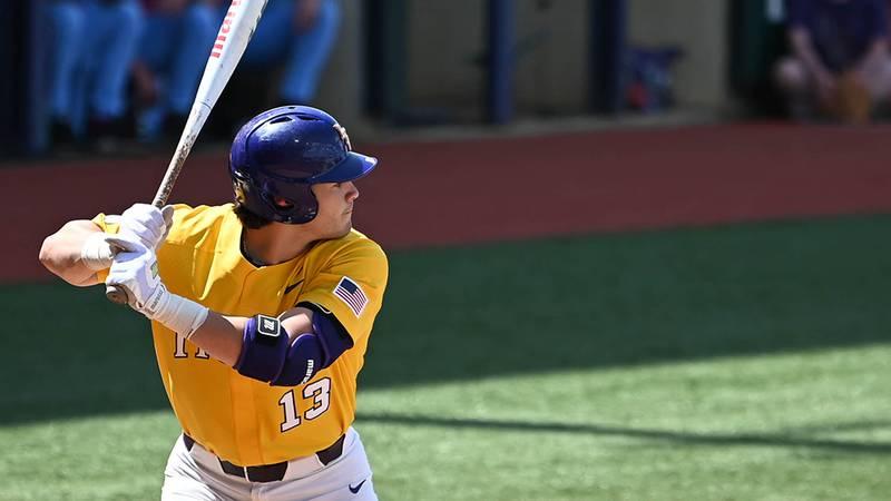 LSU designated hitter Saul Garza