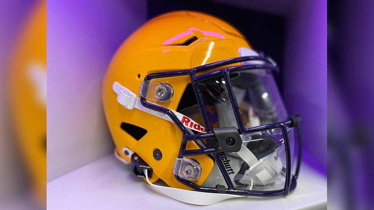 LSU unveiled its new splash shields for helmets to keep players safe.