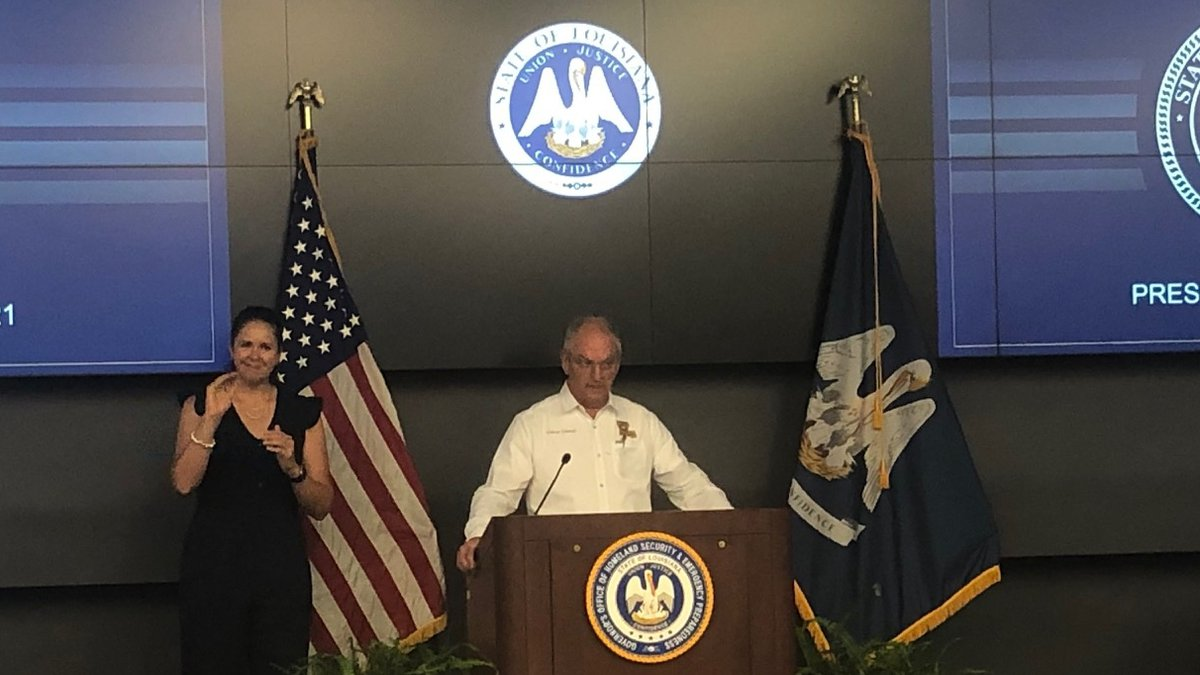 Gov. John Bel Edwards holds a news conference in Baton Rouge, La., on Louisiana's...