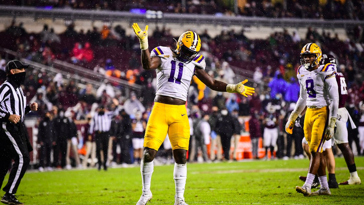 Ali Gaye celebrates at Kyle Field on November 28, 2020 in College Station, Texas.  Photo By:...