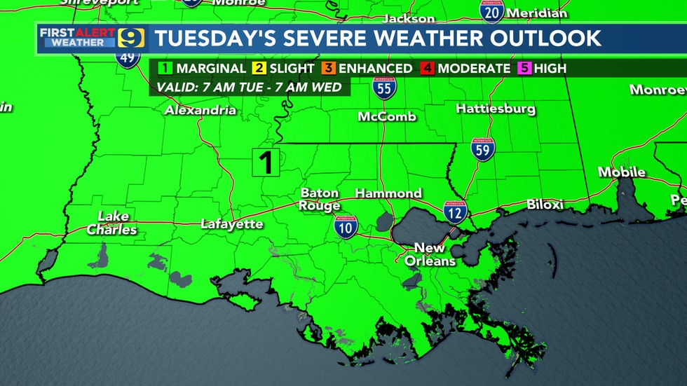 Severe weather outlook for Tuesday, May 11.