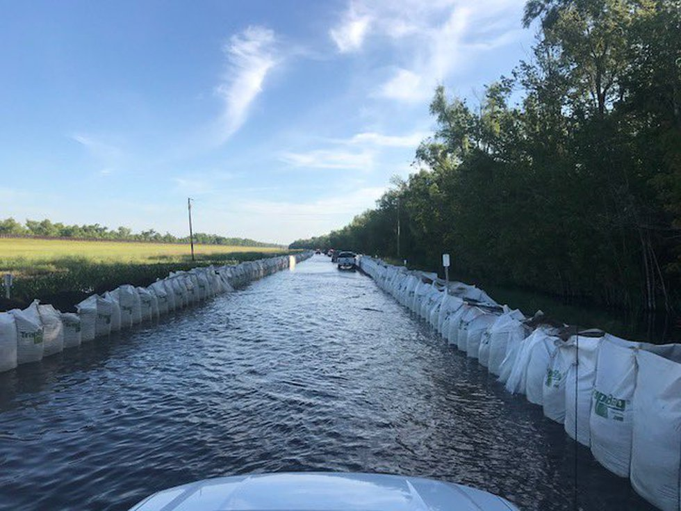 Officials placed sand sacks along Hwy. 70 in lower St. Martin Parish