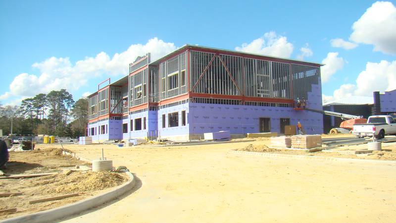 The new two-story, 80,000-square-foot Denham Springs Elementary school near the corner of...