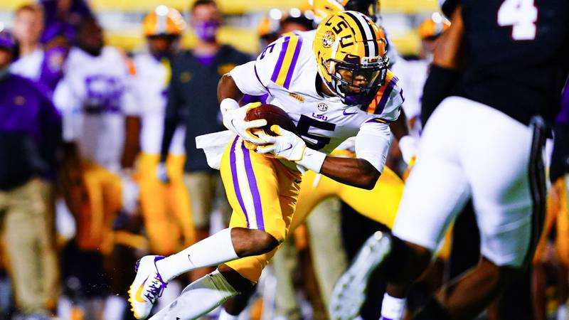 Koy Moore during the first half of a game between LSU and South Carolina at Tiger Stadium in...