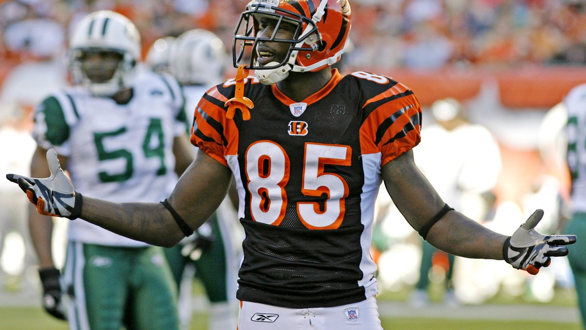 Cincinnati Bengals receiver Chad Johnson looks towards his bench in the second quarter of an...