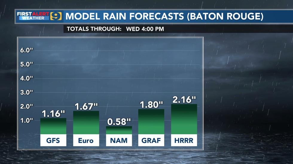 Model rain forecasts through Wednesday, June 23.