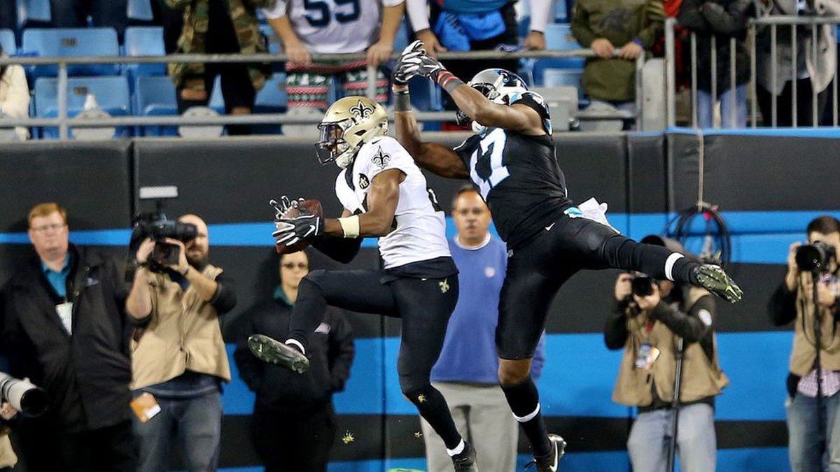Eli Apple intercepts Cam Newton in the end zone. (Source: Nola.com)