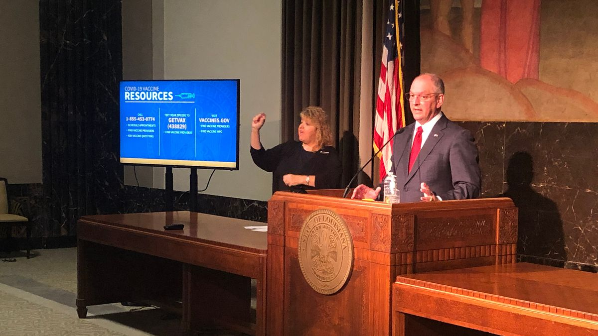 Gov. John Bel Edwards holds news conference on Louisiana's response to COVID-19 at the...