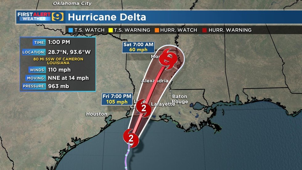NHC Forecast Track for Hurricane Delta, as of 1 p.m. Friday, Oct. 9