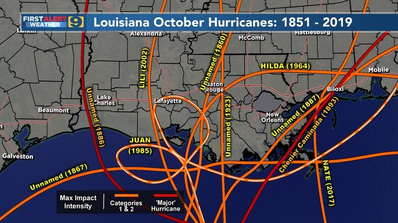 Louisiana October hurricanes: 1851 to 2019