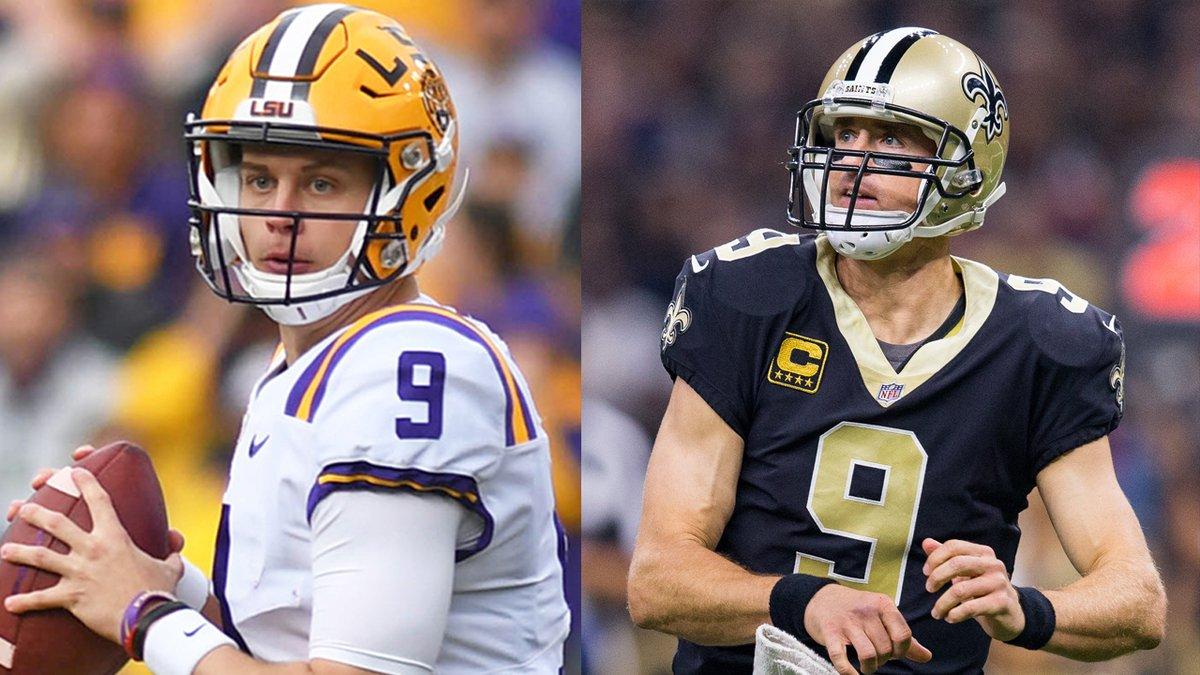 LSU quarterback Joe Burrow meet his idol, New Orleans Saints quarterback Drew Brees, during an...