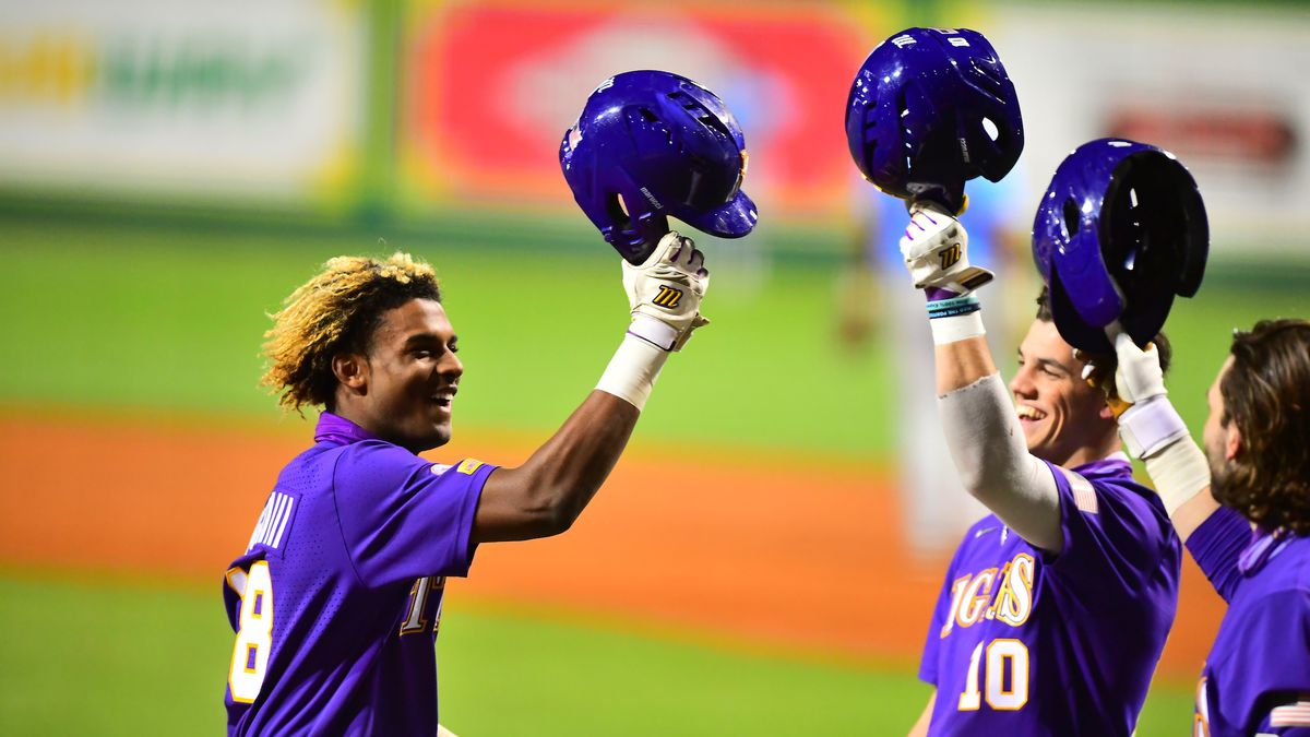 Tre' Morgan (18) celebrates after hitting home run in win over the Jags.