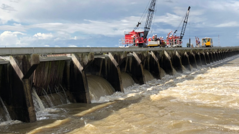 The Army Corps of Engineers opens bays at the Bonnet Carre Spillway