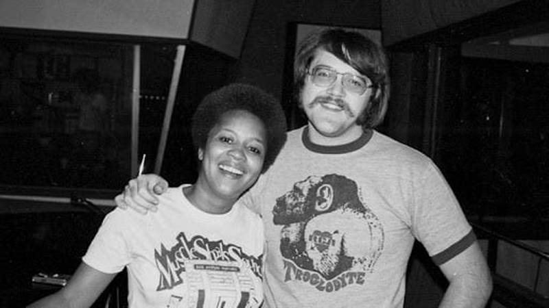 Soul singer Mavis Staples with Roger Hawkins at a recording session in Muscle Shoals, Alabama....