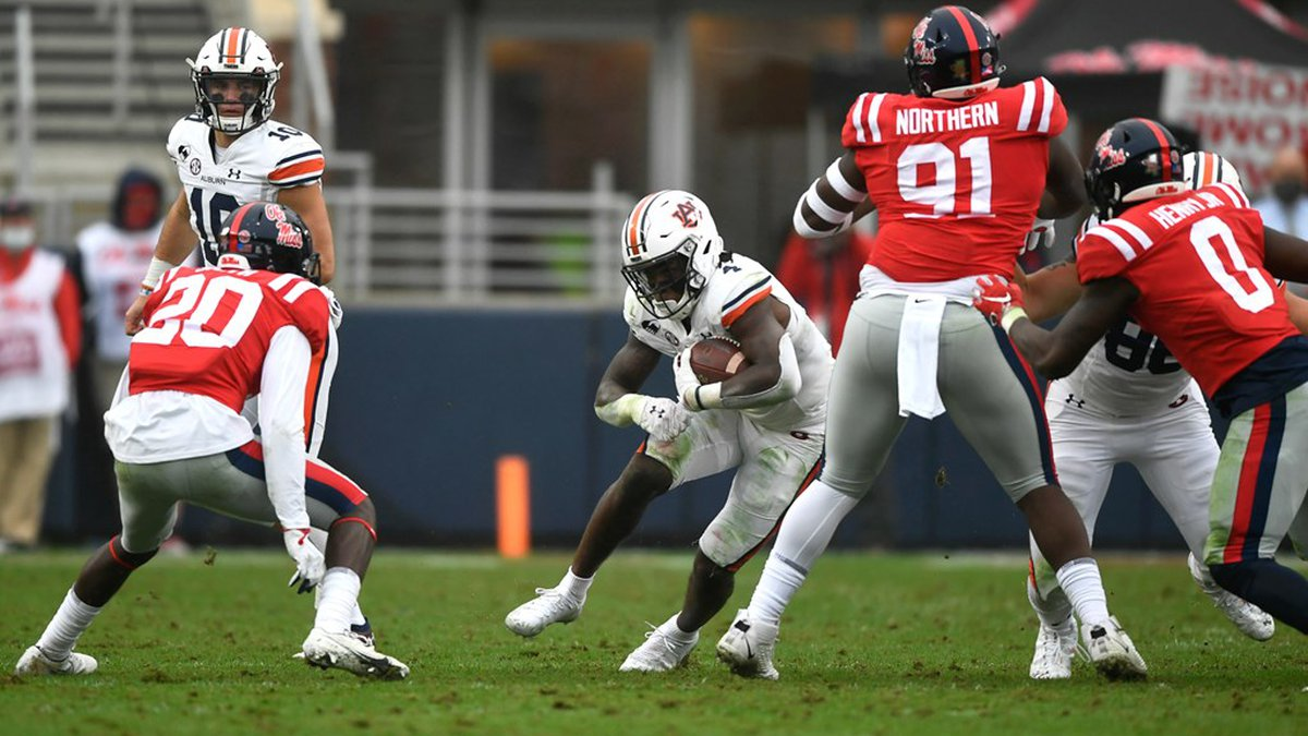 Oct 24, 2020; Oxford, MS, USA; Tank Bigsby (4) reacts after end of first quarter touchdown...