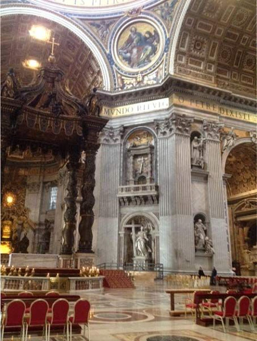 Much work was going on Tues. inside St. Peter's Basilica. Chairs were being placed throughout...