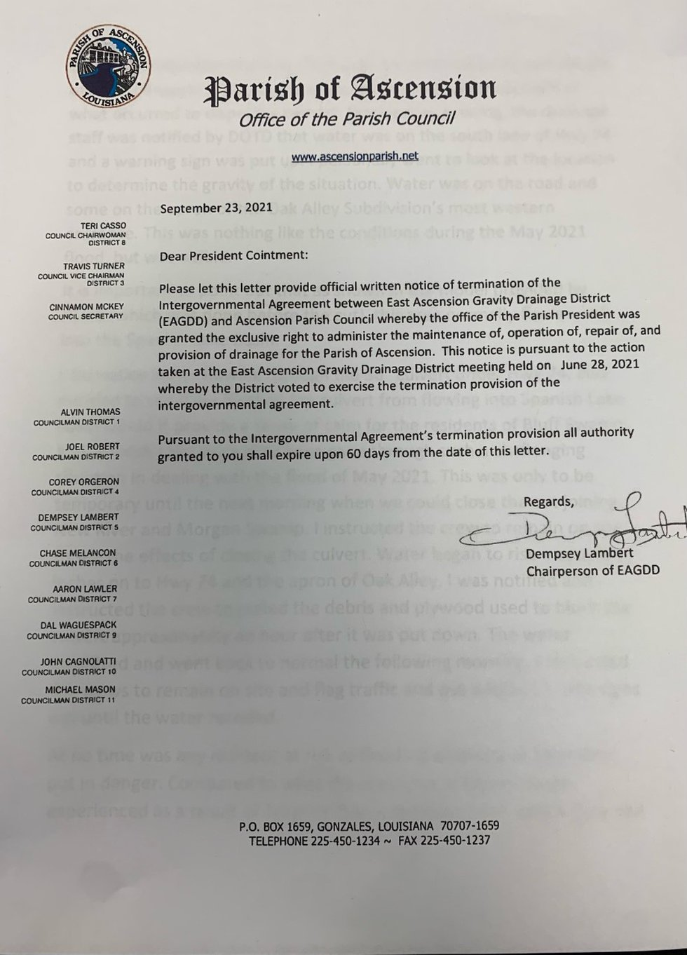 Official Letter Terminating Ascension Parish President Clint Cointment from drainage board.