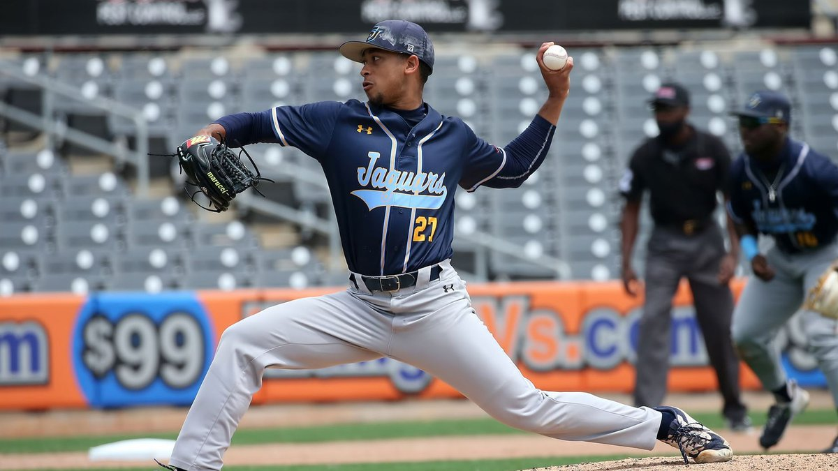 John Guienze throws a complete game shutout against Alabama State in the SWAC Tournament.