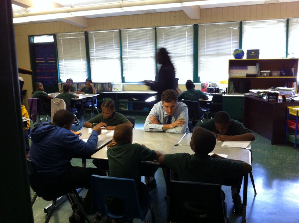 State Superintendent of Education John White visits students and teachers at Dalton Elementary...