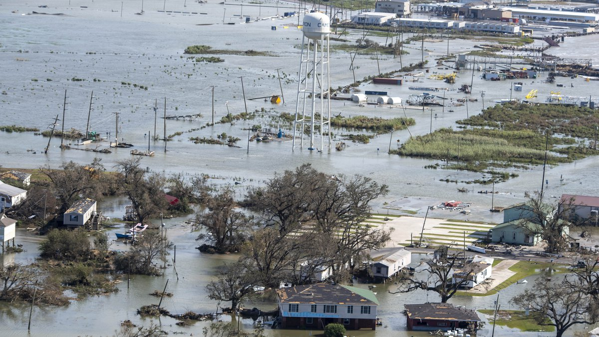 Water covers land after the passage of Hurricane Laura, Thursday Aug. 27, 2020, in Cameron, La....
