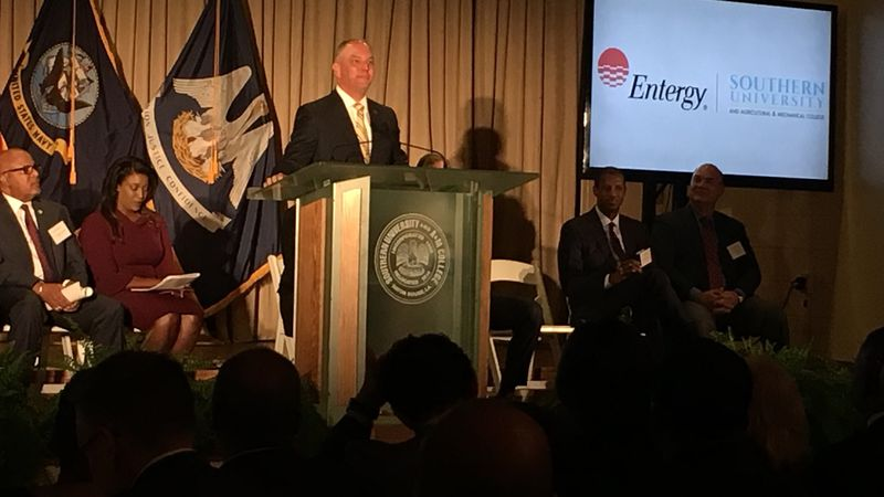 Louisiana Governor John Bel Edwards speaks at the announcement of a $2 million grant by the...