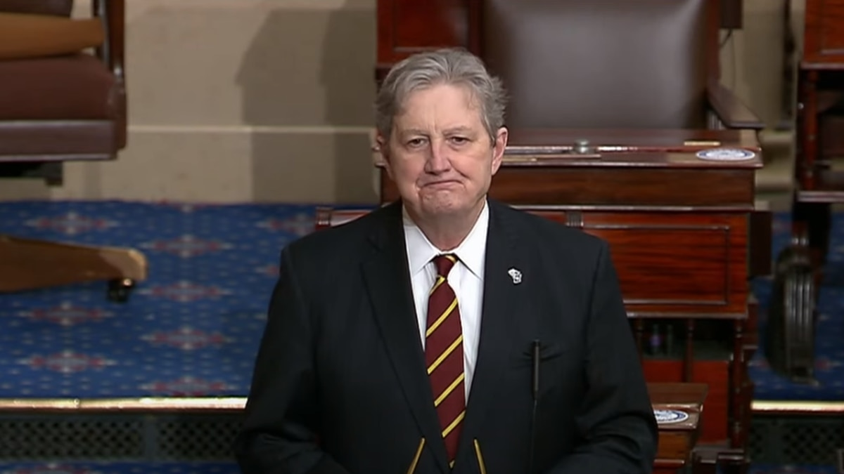 Sen. John Kennedy honors longtime WAFB-TV forecaster Diane Deaton during a speech on the floor...