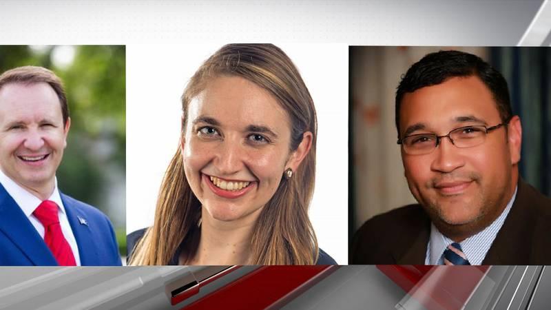 Louisiana Attorney General Jeff Landry (left), Advocate reporter Andrea Gallo (center), and the...