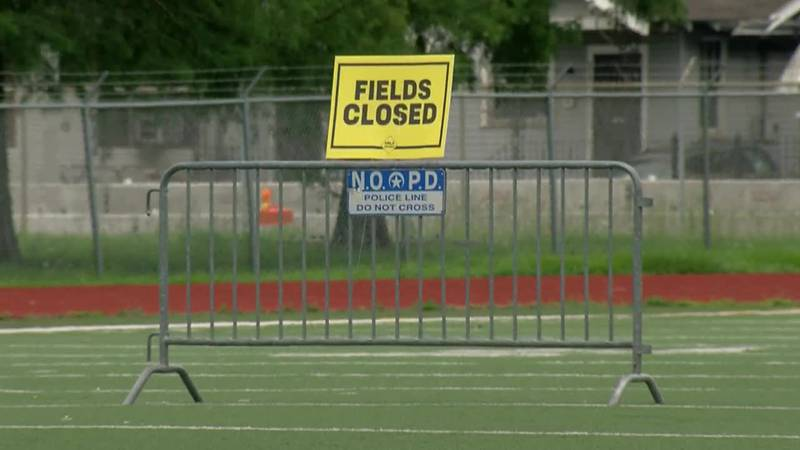 Harrell Park closed to activities on the field.