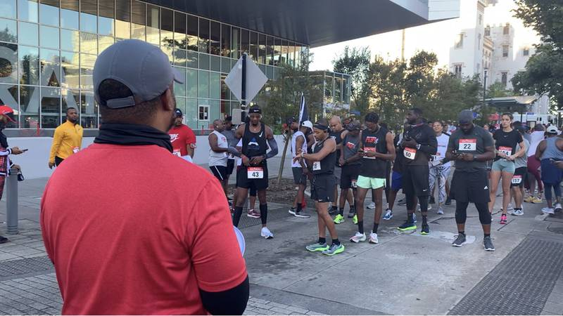 Participants line up for Ryan's Run, an event in Baton Rouge to raise awareness of sickle cell...