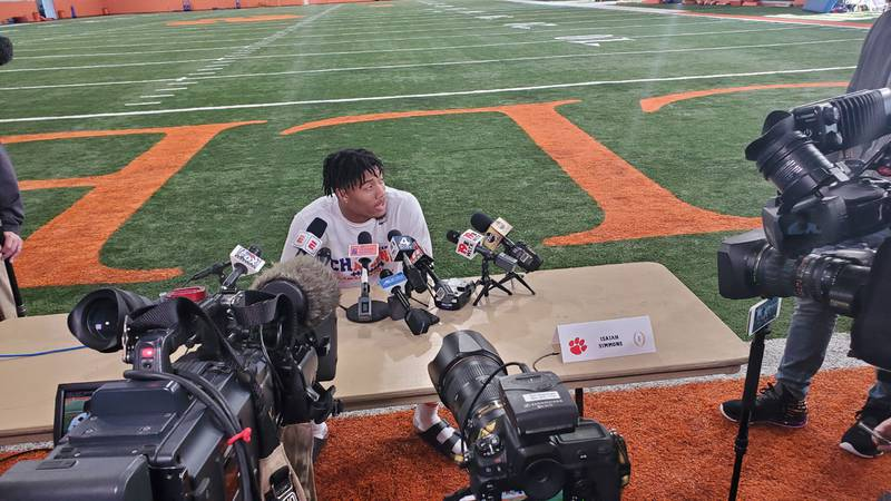 Clemson linebacker Isaiah Simmons addresses the media during the Tigers' media day at the...