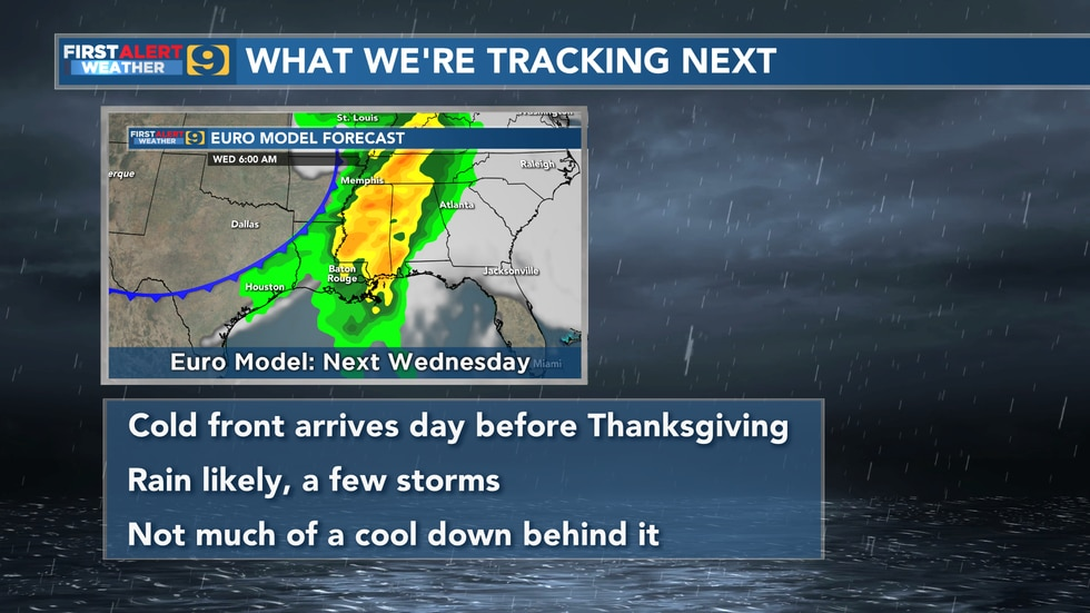 The next impactful weather for our area is expected to arrive in the form of a cold front on...