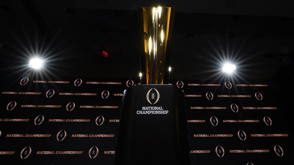 The trophy is displayed before a news conference for the NCAA College Football Playoff national...