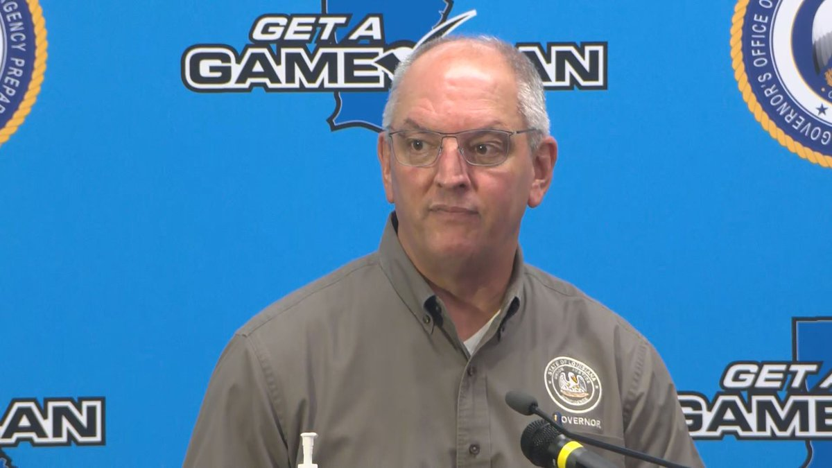 Governor Edwards provides an update on Hurricane Ida on Saturday, August 28.