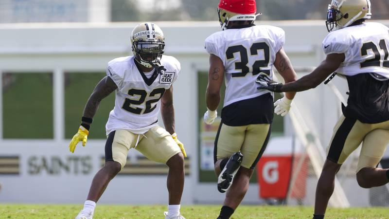 New Orleans Saints safety Chauncey Gardner-Johnson (22) defends against safety Eric Burrell...