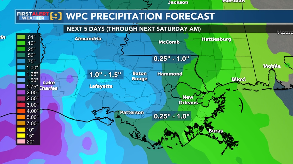 WPC precipitation forecast through Saturday, October 2.