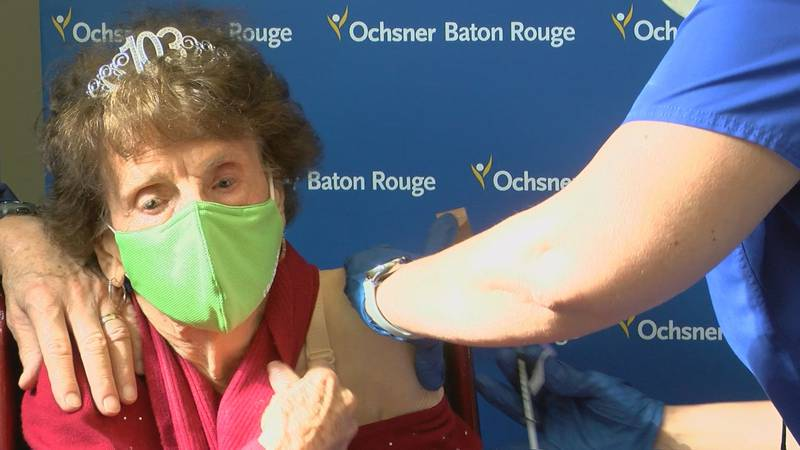 Mildred Lashover receives the first dose of the COVID-19 vaccine at Ochsner Medical Center in...