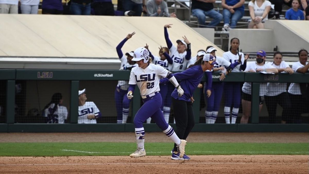 Amanda Doyle rounds third base after hitting her second home run of the game against McNeese...