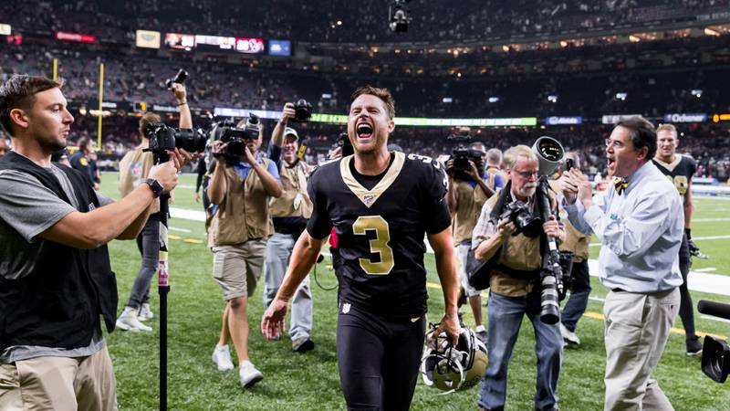 Wil Lutz celebrates has been designated to return from injured reserve. (Photo by Mark Lagrange)