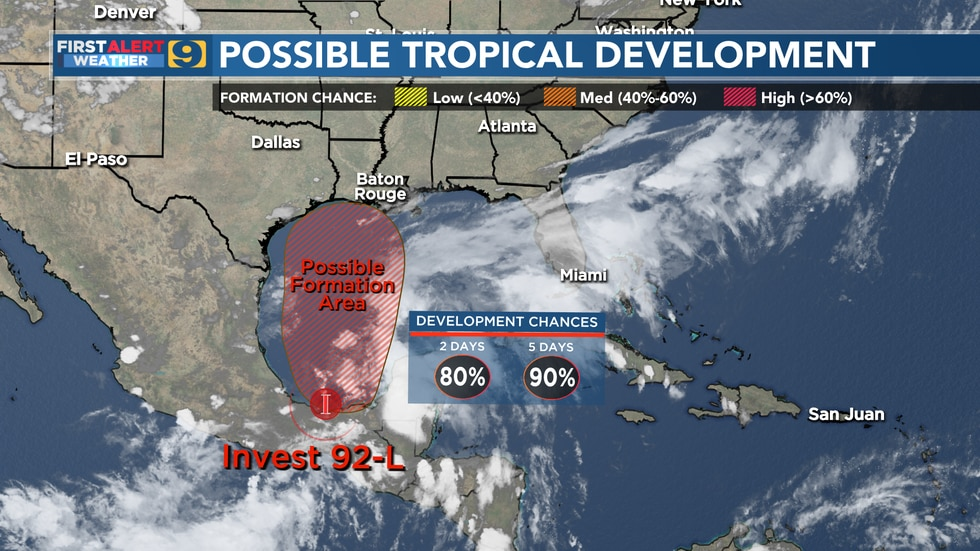 Chances for possible tropical development of Invest 92-L as of 7 p.m. Wednesday, June 16, 2021.