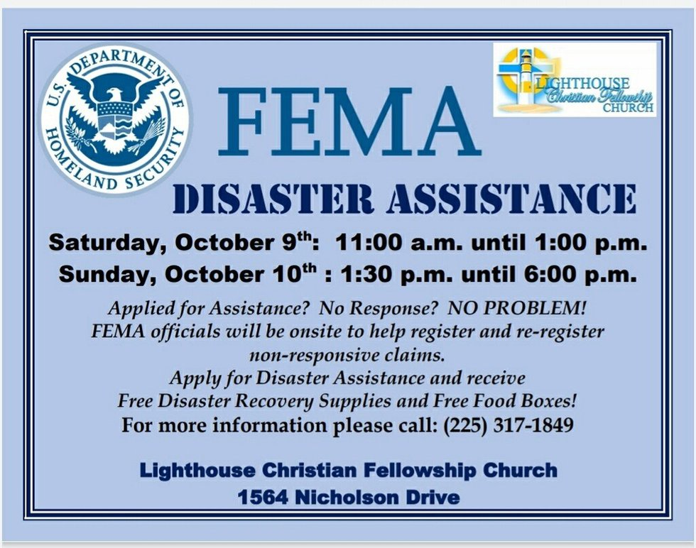 FEMA disaster officials will partner with Lighthouse Christian Fellowship Church for a two-day...