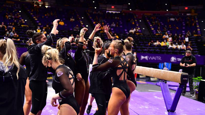 during a match against the Georgia Bulldogs at PMAC on 1 22, 2021 in Baton Rouge, Louisiana....