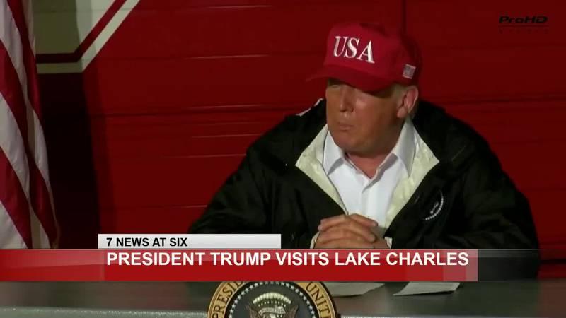 President Trump surveys Hurricane Laura damage in SWLA.