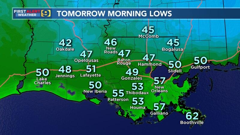 Morning lows for Thursday, Nov. 19, 2020