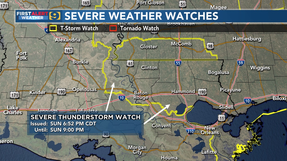 Severe weather watches for Sunday, June 13 until 9 p.m.
