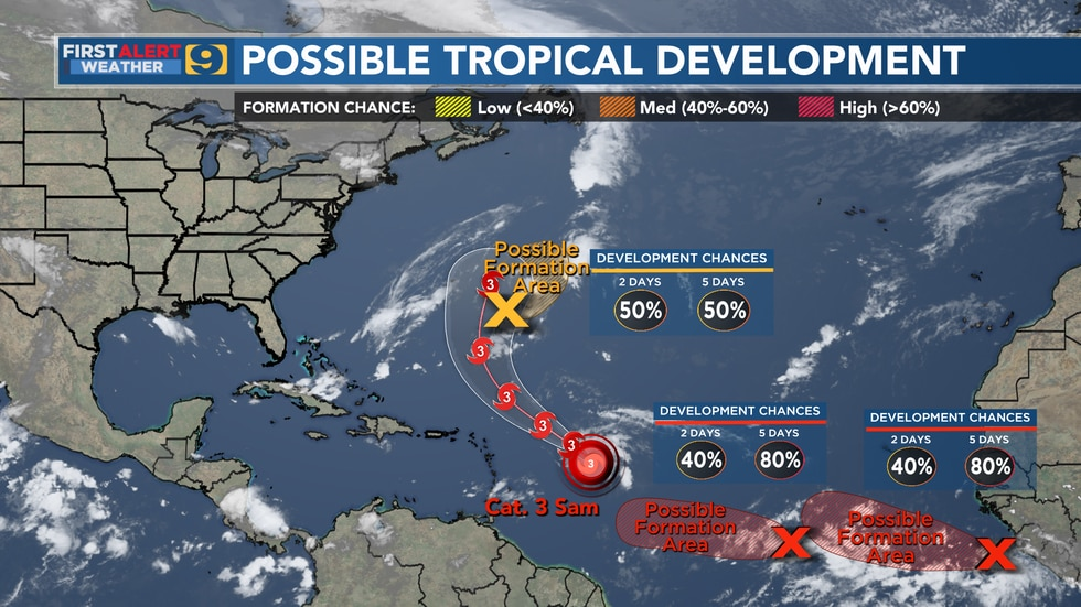 Possible tropical development as of Monday, Sept. 27.